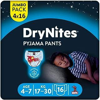 DryNites DryNites saugfähige Nachtwindeln bei Bettnässen, Für Jungen 4-7 Jahre 17-30 kg, 64 Stück, Jumbo Monatspackung