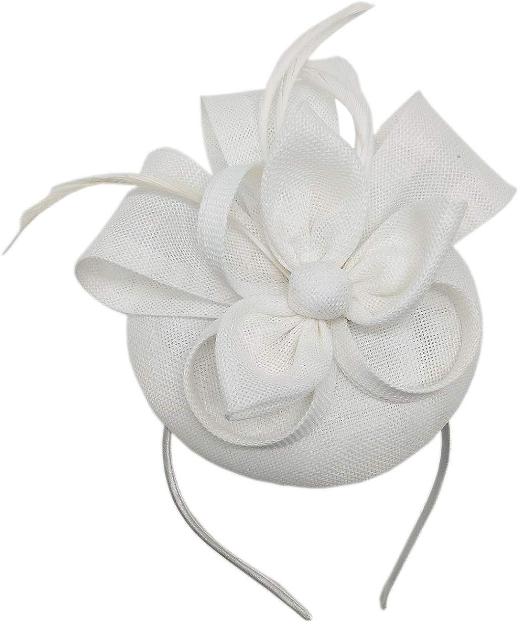 Biruil Fascinators Hat for Women Girls Sinamay Flower Feathers T