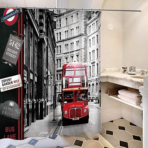 Qinqin666 Hohe Qualität Vintage britische Straßenbahn Bus Polyester Druck wasserdicht Mehltau Duschvorhang Bad Konto Badezimmermatten (Color : D, Size : 150X180cm)