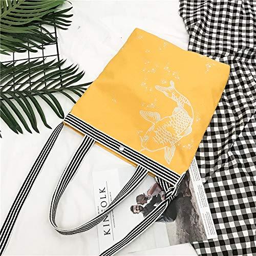 Kassar kvinnliga 2020 höstens nya retro nationella vinden utskrift vilda mode handväskor Shoulder Messenger handväska TOM-EU (Color : Yellow, Size : 30X39X9CM)