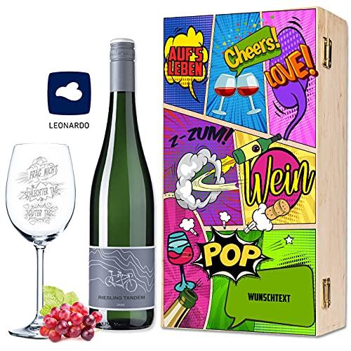 Leonardo XL Weinglas mit Gravur - Schlechter Tag, Guter Tag, Frag nicht! - Lustige Geschenke - Geburtstagsgeschenk für Männer & Frauen - Geeignet als Rotweingläser Weißweingläser im Geschenkset
