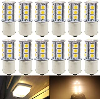 AMAZENAR 12-Pack 1156 BA15S 7506 1141 1003 1073 Warm White 3000k LED Light 12V-DC, 5050 18 SMD Car Replacement for Interior RV Camper Turn Signal Light Lamps Tail Backup Bulbs