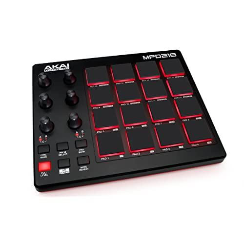 Akai Professional MPD218 | MIDI Drum Pad Controller with Software Download Package (16 pads /