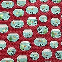 【HEMP SHOW】100%オーガニックコットン 手作り生地 デジタルプリント花柄 手芸用 福袋用の綿素材 110cmx100cm (魚と猫)