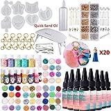 Juego de herramientas de epoxy de resina UV de 240 ml, molde agitador de resina 7x, brillo 54x, pigmento colorante, llaveros, colgantes de borla, lámpara de curado para llavero de diseño DIY