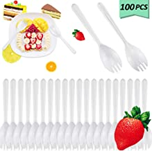 Nexxxi 100 Pieces White Disposable Sporks, BPA-Free Disposable Spoon Fork 2-in-1 Cutlery for Dessert, Cake, Picnics or Restaurant and Party Supply(5.5 Inches)