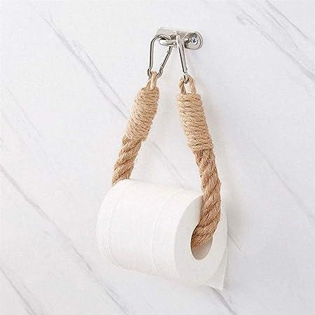 Vssictor Porte-papier toilette/porte-serviette en corde de chanvre pour salle de bain et cuisine