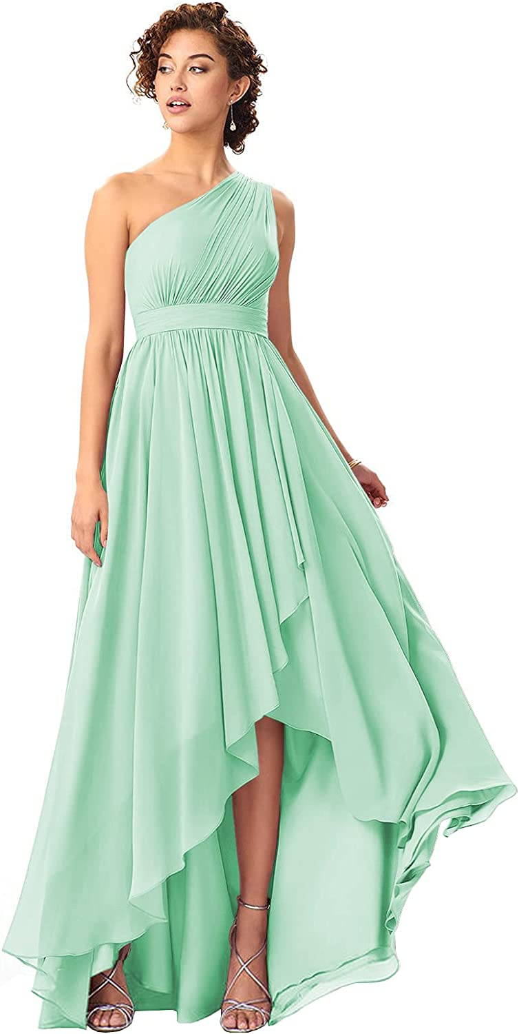 BOLENSEY Women's One Shoulder Chiffon Bridesmaid Dress Long with Pockets High Low Formal Evening Gown