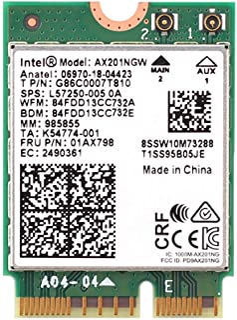 MQUPIN Intel Dual Band Wireless AX201NGW 2.4Gbps 802.11ax Wireless Intel AX201 WiFi Card Bluetooth 5.0 for Windows 10, 64-...