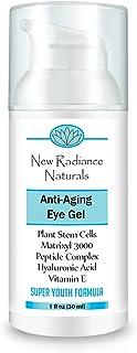 New Radiance Naturals - Eye Gel Cream With Plant Stem Cells + Matrixyl 3000 + Hyaluronic Acid + Cucumber + Organic Jojoba ...