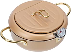 Cabilock Fritadeira Fritadeira Panela de Aço Inoxidável Pote Estilo Japonês Tempura Panela Fritar Panela Com Medidor de Te...