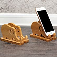 PrettyWit 2 PCS Bamboo Wooden Phone Stand Elephant Phone Holder for Universal Cell Phone Compatible with Mini Pad Phone X XS XR 11