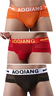AOQIANG Mens Underwear Sheer Mesh Comfortable Brief with Elastic Waistband