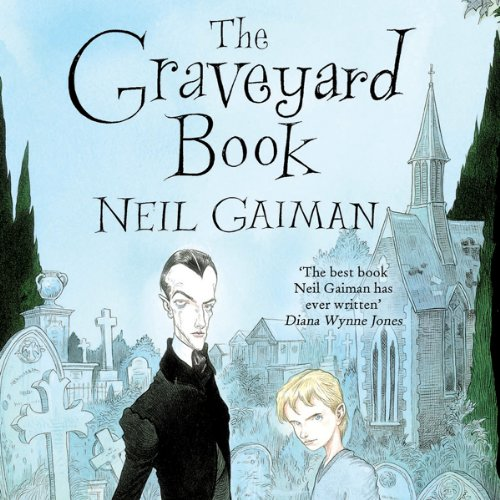 The Graveyard Book cover art by Chris Riddell, a vampire and a boy gaze out from the cover with a graveyard behind them