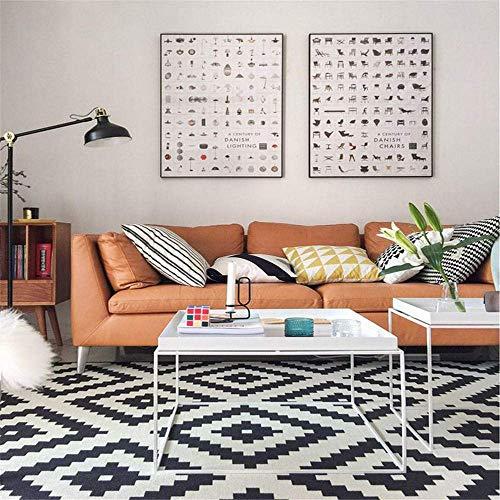 Weich Teppich modernes schwarzes weißes Muster Geometrisches Quadrat Antifouling Vorleger Verwendet for Wohnzimmer, Sofa, ein Schlafzimmer, ein Restaurant, Arbeitszimmer, Kaffee-Tisch, Teppich-Läufer