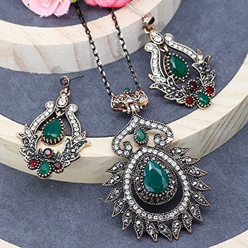 DVPHA SUNSPICE MS Indian Ethnic Wedding Jewelry Sets Flower Dangle Earrings Pendant Necklace Antique Gold Color Turkish Festival Gifts (fa04012ll26green, 46cm)