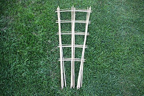 Tinobu Rankhilfe aus Bambus deko, Klettergerüst aus Holz, Bambusspalier, Gitterspalier V-Form, Rankgitter für Balkon und Kletterpflanzen, Maße: ca. B 12-33 cm x H 85 cm (10)