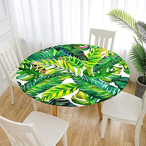 Fansu Impermeable Redondo Mantel con Borde Elástico, 3D Plantas Tropicales Mantel de Mesa Ajustada Cubierta de Mesa para Picnic Comedor Cocina Restaurante Cena (Verde Tropical,Diámetro 100cm)
