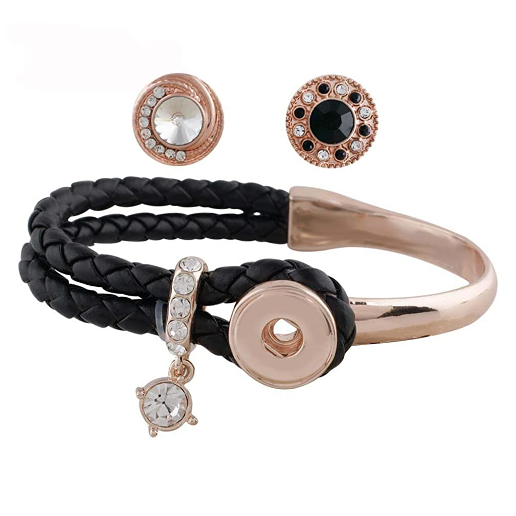 Snap Charm Rose Gold Plated Black Leather Bracelet for 1 Mini Snap 12mm (1/2