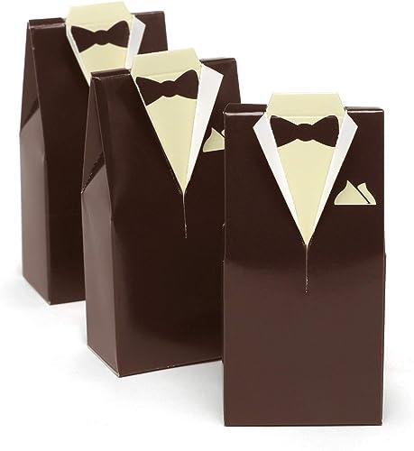 precios mas bajos Hortense B. Hewitt Wedding Accessories Favor Boxes, marrón Tuxedo Tuxedo Tuxedo Design, 25 Count  Envío y cambio gratis.