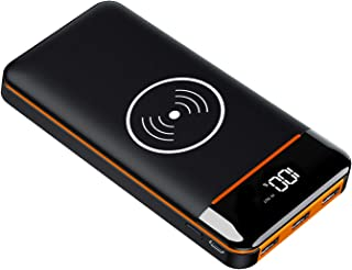 モバイルバッテリーQi 25000mAh 大容量 無線と有線両用 ワイヤレス充電 3個LEDライト搭載 PSE認証 LCD残量表示 急速充電 2つ入力+3つUSB2.4A出力ポート 無線充電器 iphone/Android/iPad対応 (黒と...