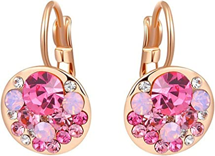 Epinki Stud Earrings for Women Girls Gold Plated Women Hoop Earrings Rose Gold Pink Diamond Earrings Birthday 1.3X2.1CM Earrings