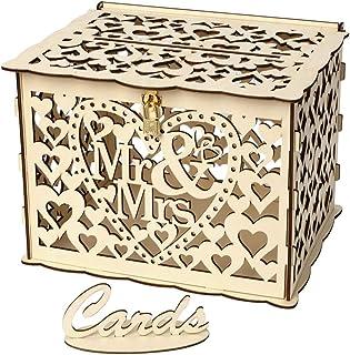 لوازم الزفاف، صندوق بطاقات زفاف أنسيلف مع قفل من الخشب الريفي حامل بطاقات هدايا لحفل استقبال المولود