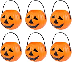 Toyvian 20 Pcs Round Pumpkin Bucket Halloween Plastic Pumpkin Candy Pail for Kids Trick or Treat