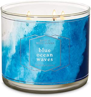 Bath and Body Works Blue Ocean Waves Scented Three Wick Candle 14.5 oz (ocean breeze, sea spray and sandalwood)