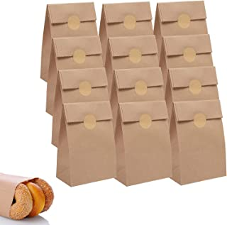 Paper Party Bags, DELFINO Lunch Flat Bottom Grocery Bags Kraft Treat Bags with 36 Pieces Label Stickers for Party Favor (1...