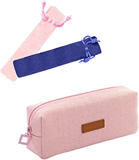 Huture Nature Environment Cute Canvas Pencil Case Box Pouch Houlder Girl Stationery Storage Bag Makeup Brush School Gift Pockets Decor for Women Ladies Teen Girls Students Officer, Pink