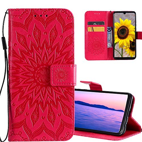 COTDINFOR Huawei P9 Lite Funda Flores Cierre Magnético Billetera con Tapa para Tarjetas de Cárcasa Elegante Retro Suave PU Cuero Caso Protectora Case para Huawei P9 Lite Sunflower Red KT