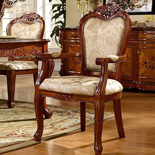 L-WSWS Silla de comedor de madera de estilo europeo silla de comedor silla del ocio tallada Negociación Sillón Fácil de montar 2 piezas for sillas de cocina (Inicio Color: Marrón, Tamaño: 50x58x106cm)