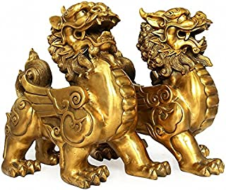 Feng Shui Set of Two Golden Brass Pi Yao/Pi Xiu Wealth Porsperity Figurine,Attract Wealth and Good Luck,Best Decoration for Office or Home