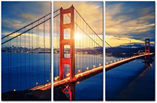3 Pieces Modern Canvas Painting Wall Art The Picture for Home Decoration Famous Golden Gate Bridge at Sunrise San Francisco Cityscape Bridge Landscape Print On Canvas Giclee Artwork for Wall Decor