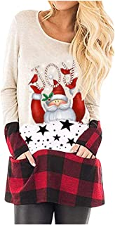 Remanlly Women's Christmas Santa Print O-Neck Casual Graphic Tops Sweatshirt Long Sleeve Casual Pullover Top