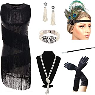 479ce4bc0c70 20 s Flapper Girl Women s Party Outfits Costume Flapper Dresses Fringed  Dress with 20s Accessories ...
