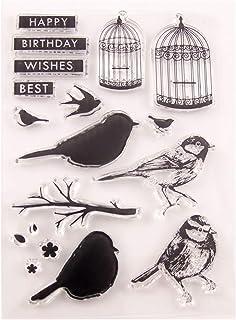 Tampons en silicone transparents, motif cage à oiseaux, en silicone transparent pour scrapbooking, scrapbooking, scrapbook...