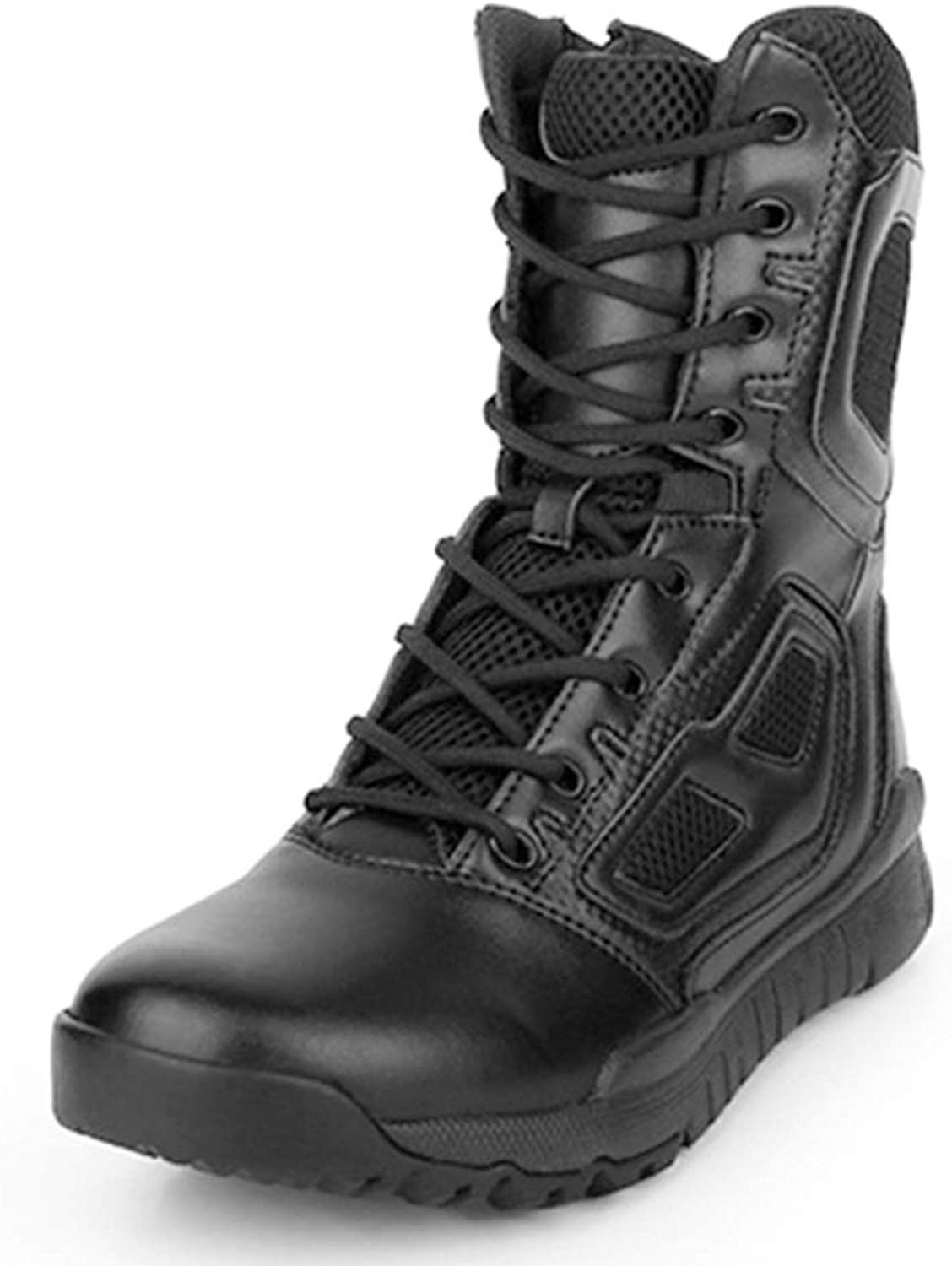DANDANJIE Mens Lace Up Combat Boots Tactical Boots Camping Hiking High Tops Training Boot