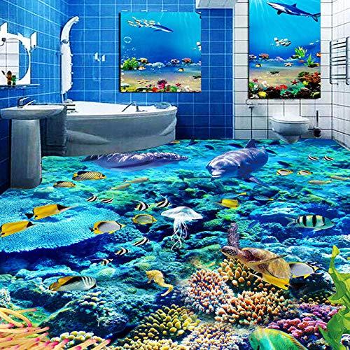 Nomte Benutzerdefinierte Größe 3D Foto Wallpaper Unterwasser Welt Bodenbelag PVC Badezimmer 3D Raum Bodendekoration Wandbild Vinyl Wallpaper Home Decor-200x140cm