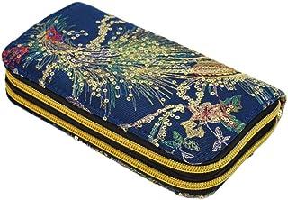 VALICLUD Frauen-Pfau-Stickerei-Mappen-Handtasche-handgemachte Segeltuch-Geldbörse verzierte Mappentasche-Dame Change Purse dunkelblau