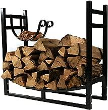 Sunnydaze 33-Inch Firewood Rack with Kindling Holder - Indoor or Outdoor Black Powder-Coated Steel Fireplace Log Rack Firewood Holder for Wood Storage