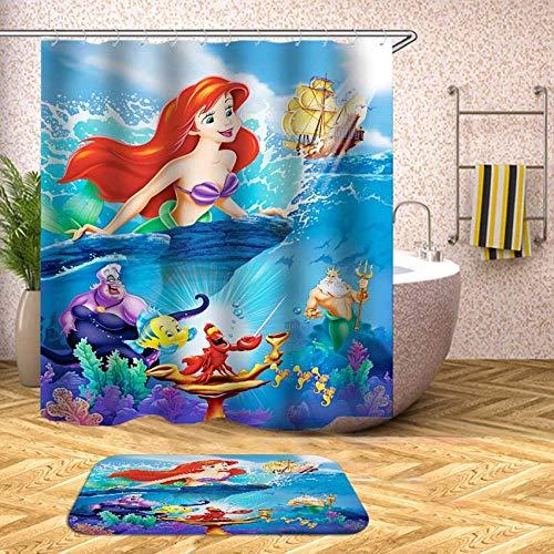 Duschvorhang Anti-Schimmel, Anti-Bakteriell, PEVA Wasserdichter Badvorhang 3D Wirkung mit 12 weiße Haken [Umweltfre&lich] [Waschbar] [180x180cm], Bad Vorhang für Badzimmer - Ozean