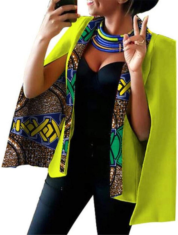 BU2H Women Sleeve Printed Slit Open Front Shawl Poncho Cape Blazer