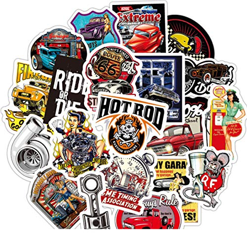 50 PCS Laptop Sticker Hot Rod Classic Car Theme Stickers Waterproof Vinyl Scrapbook Stickers Car Motorcycle Bicycle Luggage Decal (Hot Rod Classic Car)