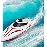 INTEY RC Boat, Double-Layor Waterproof 25km/h Remote Control Boat with Capsize Recovery for Kids, Teenagers and Adults(Include 2 Rechargeable Battery)