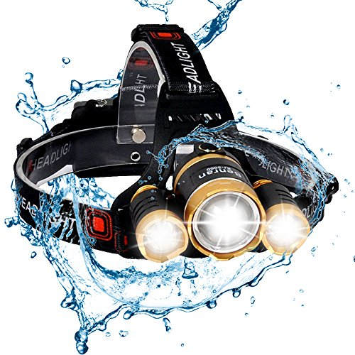 BenRan 6000Lm Headlamp Improved LED,4 Light Modes Headlight,Zoom Flashlight with Rechargeable 18650 Battery & Dual Smart Charger,Hunting Helmet Light for Camping,Running (Gloden-6000lm)