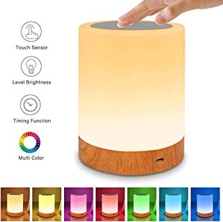 Table Lamp Touch Night Light - Portable Sensor Remote Control Bedside Lamps with Quick Rechargeable USB Dimmable Warm White Light 13 Colors RGB Table Lamp for Bedroom Living Room Office (Silver)
