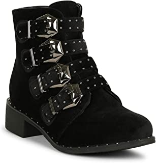 Alrisco Women Velvet Studded Buckle Straps Vamp Chunky Ankle Booties SE13