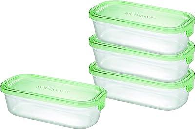 iwaki(イワキ) 耐熱 ガラス 保存容器 角型 パック&レンジ 4点セット グリーン 500ml × 4個 AZ3246-4G